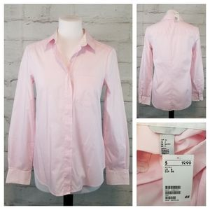 NWT H&M 6 Pastel Pink Button-Down Blouse Stretch